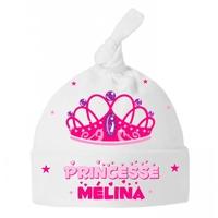 Bonnet Bébé noeud Princesse personnalisé avec prénom