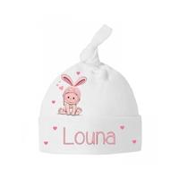 Bonnet Bébé noeud Lapin personnalisé avec prénom