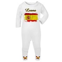 Pyjama bébé Espagne personnalisé avec le prénom de votre choix