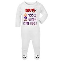 Pyjama bébé Football Paris personnalisé avec le prénom de votre choix