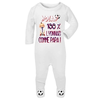Pyjama bébé Football Lyon personnalisé avec le prénom de votre choix