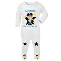 Pyjama bébé Futur policier personnalisé avec le prénom de votre choix