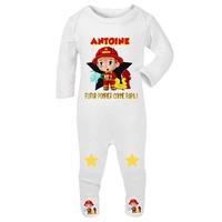 Pyjama bébé Futur pompier personnalisé avec le prénom de votre choix