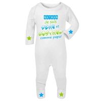 Pyjama bébé Beau et costaud comme papa personnalisé avec le prénom de votre choix