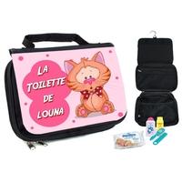 Trousse de toilette bébé Chat personnalisée avec prénom