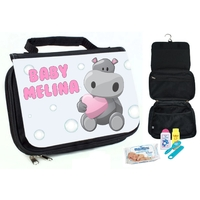 Trousse de toilette bébé Hippo personnalisée avec prénom