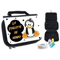 Trousse de toilette bébé Pingouin personnalisée avec prénom