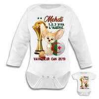 Body bébé Algérie foot CAN 2019 personnalisé avec le prénom de votre choix