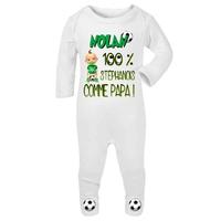 Pyjama bébé Football St Etienne personnalisé avec le prénom de votre choix