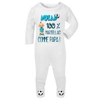 Pyjama bébé Football Marseille personnalisé avec le prénom de votre choix