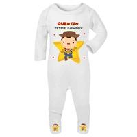 Pyjama bébé Cowboy personnalisé avec le prénom de votre choix
