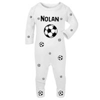 Pyjama bébé Football personnalisé avec le prénom de votre choix