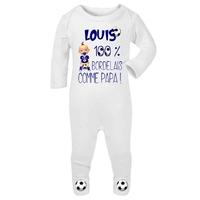 Pyjama bébé Football Bordeaux personnalisé avec le prénom de votre choix