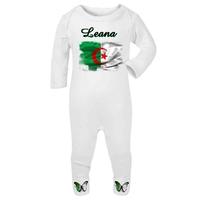 Pyjama bébé Algérie personnalisé avec le prénom de votre choix