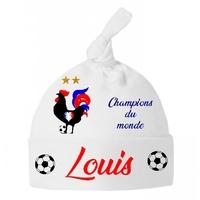Bonnet Bébé noeud France Foot Champions du monde personnalisé avec prénom
