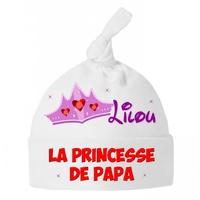 Bonnet Bébé noeud Princesse de papa personnalisé avec prénom