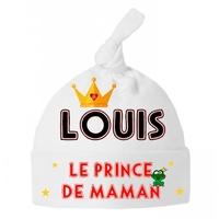Bonnet Bébé noeud Prince de maman personnalisé avec prénom