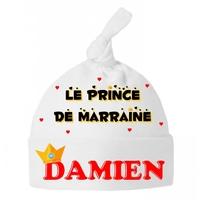Bonnet Bébé noeud Prince de marraine personnalisé avec prénom