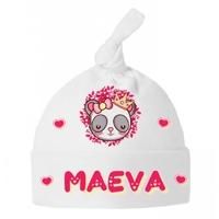 Bonnet Bébé noeud Panda fille personnalisé avec prénom