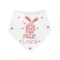 Bavoir bébé bandana Lapin personnalisé avec prénom