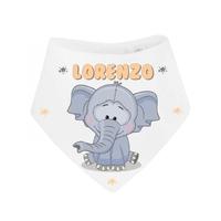 Bavoir bébé bandana Eléphant personnalisé avec prénom