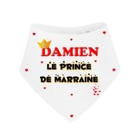 Bavoir bébé bandana Prince de marraine personnalisé avec prénom