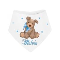 Bavoir bébé bandana Peluche chien garçon personnalisé avec prénom