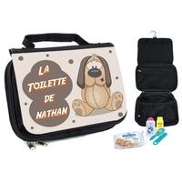 Trousse de toilette bébé Chien personnalisée avec prénom