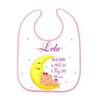 Bavoir bébé Naissance personnalisé avec prénom, date et heure de naissance, taille, poids