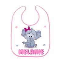 Bavoir bébé Eléphant fille personnalisé avec prénom