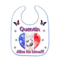 Bavoir bébé Foot FRANCE personnalisé avec prénom