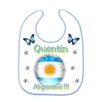 Bavoir bébé Foot ARGENTINE personnalisé avec prénom