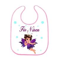 Bavoir bébé Fée personnalisé avec prénom
