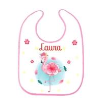 Bavoir bébé Flamant rose personnalisé avec prénom