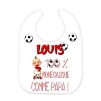 Bavoir bébé FOOT Monaco comme papa personnalisé avec prénom