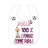 Bavoir bébé FOOT Lyon comme papa personnalisé avec prénom