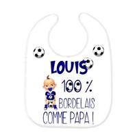 Bavoir bébé FOOT Bordeaux comme papa personnalisé avec prénom