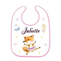Bavoir bébé Animaux Ballet personnalisé avec prénom