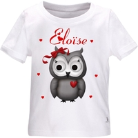 Tee shirt bébé Chouette personnalisé avec le prénom de votre choix