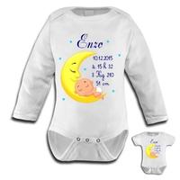 Body bébé Naissance garçon personnalisé avec prénom, date et heure de naissance, taille et poids