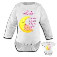 Body bébé Naissance fille personnalisé avec prénom, date et heure de naissance, taille et poids
