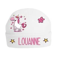 Bonnet de naissance Licorne personnalisé avec prénom