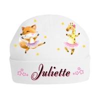 Bonnet de naissance Animaux Ballet personnalisé avec prénom