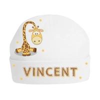 Bonnet de naissance Girafe personnalisé avec prénom