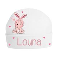 Bonnet de naissance Lapin personnalisé avec prénom