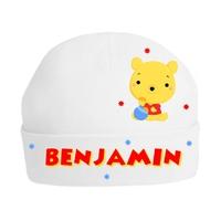 Bonnet de naissance Mon petit ourson personnalisé avec prénom