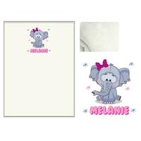 Plaid bébé Eléphant fille personnalisé avec le prénom de votre choix