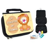 Trousse de toilette bébé Lion personnalisée avec prénom