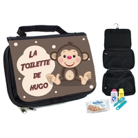 Trousse de toilette bébé Singe personnalisée avec prénom