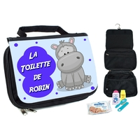 Trousse de toilette bébé Hippopotame personnalisée avec prénom